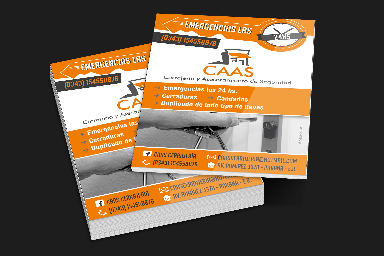 Diseño Tarjetas - Flyer - Cerrajeria CAAS - Parana