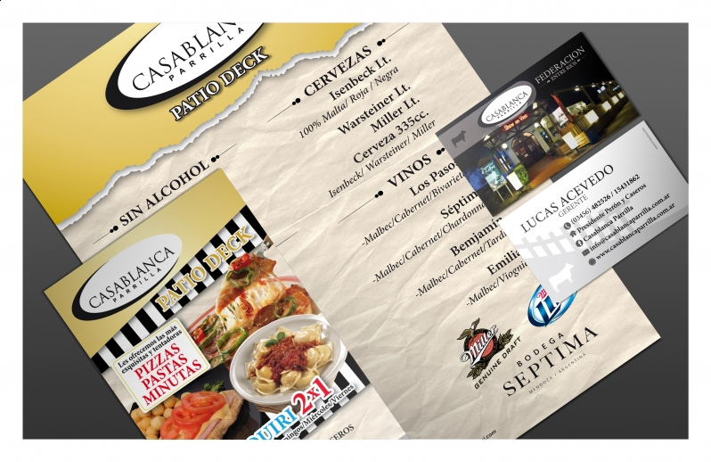 Casablanca Parrilla – Menu-Flyer-tarjetas