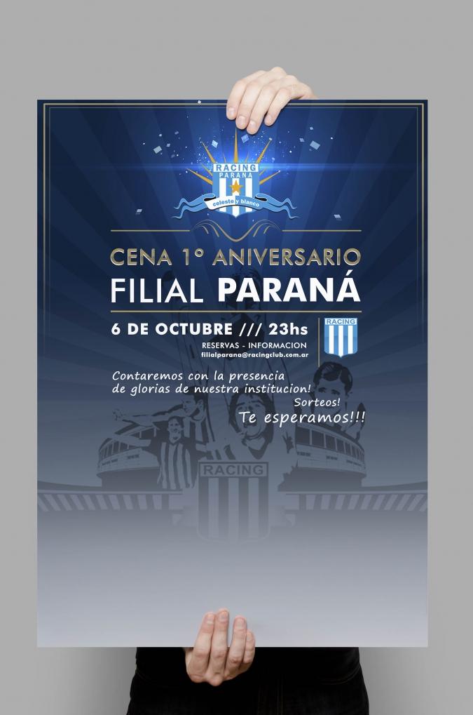 Afiche Cena Aniversario Filial Parana Racing Club